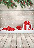AIIKES 5X7FT Christmas Backdrop for Photography Wood Christmas Photo Backdrop Merry Photography Background Wood Board Backdrop for Snowflakes Photo Booth Prop 11-151