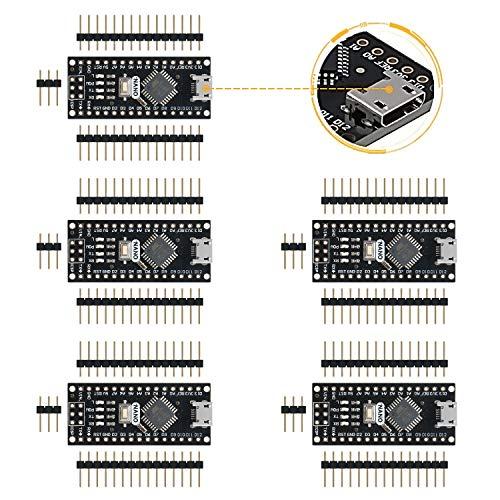 Emakefun Für Arduino Nano V3.0, Micro USB Nano Board ATmega328P 5V 16M Mikrocontroller Board (5 Stück)