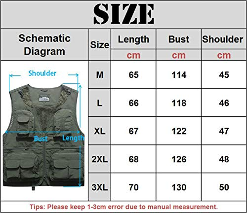YDSH Men's Outdoor Vest Multi Pockets Hollow Out Camping Fishing Photography Waistcoat Casual Outwear Lightweight Vests