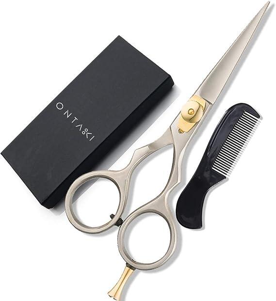ONTAKI Premium Hand Forged Barber Salon Japanese Steel Hair Beard Mustache Shears Scissors for Bangs Haircuts
