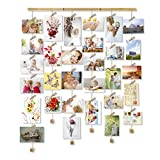 Love-KANKEI Wood Picture Photo Frame for Wall Decor, 26 x 29 Inch - with 30 Clips & Ajustable Twines - Collage Artworks Prints Multi Pictures Organizer & Hanging Display Frames - Memory