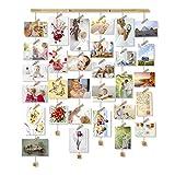 Love-KANKEI Memory Cadre Photo Mural avec Corde Porte-Photos avec 30 Petites Pinces Couleur de Bois Naturel Belle Décoration de la Maison Cadeau Mariage et Anniversaire