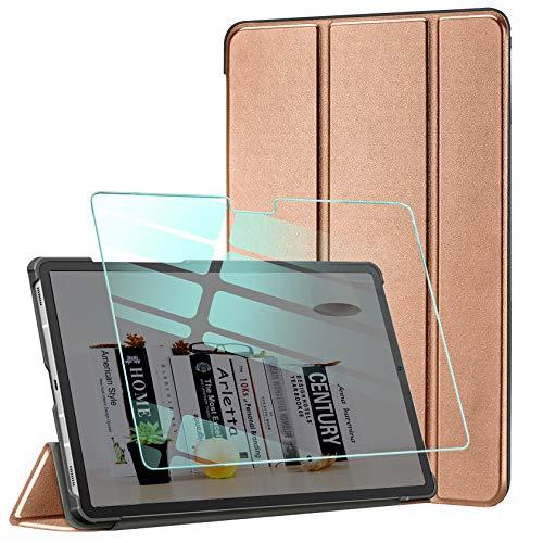 AROYI Funda y Protector de Pantalla Compatible con Samsung Galaxy Tab A7 10.4 2020(T505/T500/T507) Funda Tríptica Smart Cover con Auto Sueño Estela, Carcasa Ligera con Soporte Función(Oro Rosa)