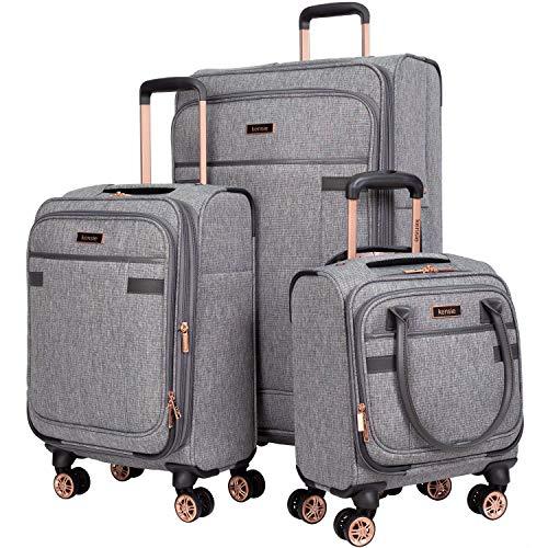 kensie 3 Piece Luggage Set, Heather Gray