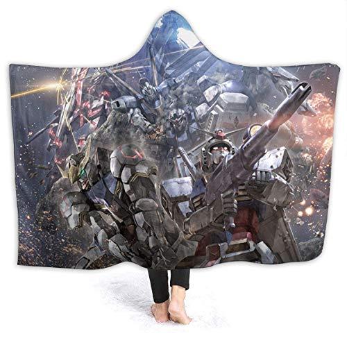LUCKY Home GundamAnime - Manta con capucha, manta cálida, súper suave, de dibujos animados, manta para niños, súper suave, micro terciopelo, resistente al forro polar