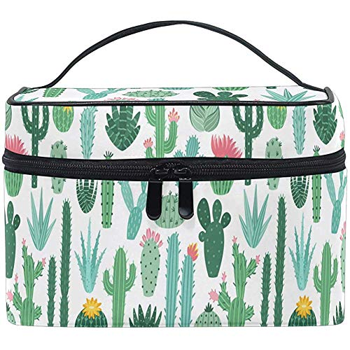 Cactus Print Pattern Makeup Bag Cosmetic Bag Toiletry Brush Train Zip Carrying Portable Storage Pouch Bags Box Box