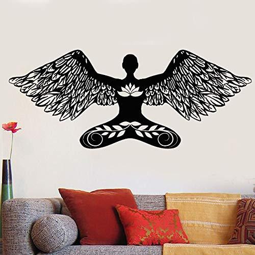 ganlanshu Vinyl wandtattoo Yoga Pose wandmalerei Meditation mädchen Engel Lotus Pose wandaufkleber Home Wohnzimmer Dekoration tapete 85 cm X 34 cm