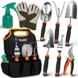Scuddles 7 Piece Stainless Steel Heavy Duty Garden Tools Set, with Non-Slip Rubber Grip, Storage Tote Bag, Outdoor Hand Tools, Garden Gift, Black and Orange |