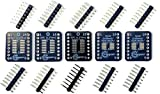 Stargazer SMD to DIP Breakout for SOIC-16, TSSOP-16, MSOP-16, and VSOP-16 with Gold Plated Headers [5 Pack]