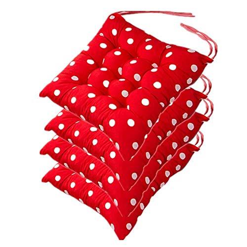 ANXWA Galettes De Chaise De Jardin 4-Polyester Coton,40X40X5Cm-Soft Seat Cushion/Coussin D'Assise Exterieur-pour IntéRieur ExtéRieur,Red