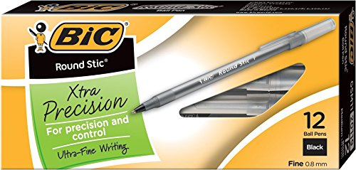 BIC Round Stic Xtra Precision Ballpoint Pen Fine Point 08mm Black 12Count