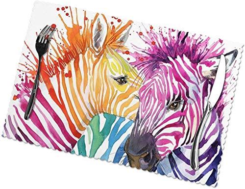 Niedliche Zebra Wild Animals Tischsets, 4er-Set, leicht zu reinigen, hitzebeständig, schmutzabweisend Tischsets aus...