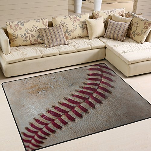 ALAZA Vintage Baseball Ball Sport Area Rug Rugs for Living Room Bedroom 7' x 5'