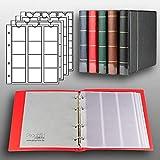 Prophila Kobra Album per Monete con 4 Fogli per 110 Monete Rosso