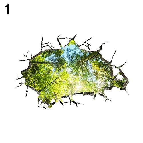 JoyRolly Abnehmbare 3D Durchbruch Wandaufkleber Waldbaum Saison Wandtattoos für Wand und Decke Kinder Jungen Mädchen Schlafzimmer Dekorationen Type 1