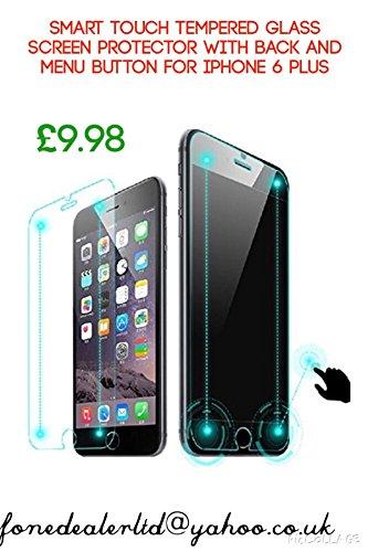 Rubility - Pellicola salvaschermo in vetro temperato con pulsante per menu posteriore per iPhone 6 Plus
