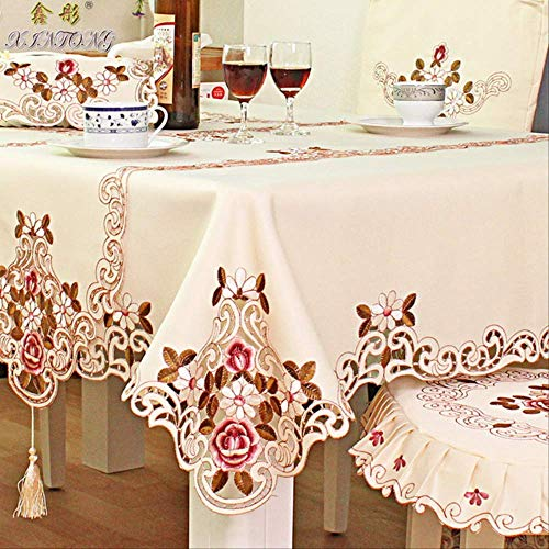 XYHSXX European Style Embroidery Table Cloth Chair Cover Fabric Table Runner Decoration Coffee Table Cloth Home Tablecloth 40X85 Real Object Figure