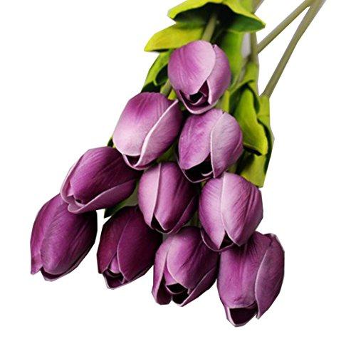 Unechte Blumen,10 Stück Rosennie Tulip Künstliche Deko Blumen Gefälschte Blumen Blumenstrauß Seide Tulpe Wirkliches Seidenblumen Berührungsgefühlen, Braut Wedding Bouquet Home Decor (Lila)