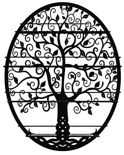 SoCal Buttercup Organizer für Nagellacke und ätherische Öle (bis 10 ml. Flaschen) Ovales Metall mit Baumsilhouette - Rundes Wandregal zur Wandmontage (schwarz)