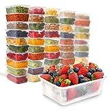 Zuvo, 50 contenitori in plastica trasparente, rettangolari, per cibi caldi e freddi, da 1000 ml, 170 (W) x 120 (L) x 70 (H)mm