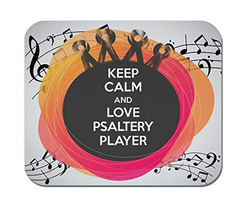 Makoroni - Keep Calm and Love Psaltery Player - Non-Slip Rubber - Computer, Gaming, Office Mousepad