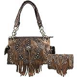 Zelris Western Concho Fringe Two Toned Conceal Carry Women Handbag Wallet Set (Brown)