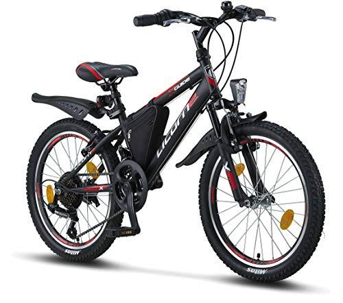 Licorne Bike Guide, (Schwarz/Rot/Grau),20 Zoll Mountainbike,geeignet für 6,7,8, 9 Jahre,Shimano 21 Gang-Schaltung,Gabelfederung,Kinderfahrrad,Jungenfahrrad, Mädchenfahrad, MTB,Rahmentasche