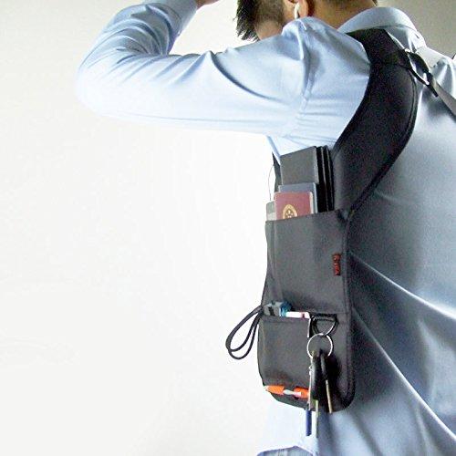 Nueva novedad negro seguro antirrobo deporte chaleco Hidden axilas hombro bolsa Inspector FBI Holster bolsa de tarjeta de teléfono móvil tipo Cartera