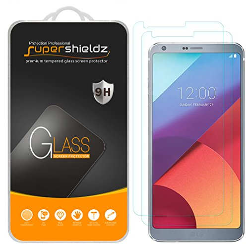 Supershieldz (2 Pack) for LG G6 and LG G6 Duo Tempered Glass Screen Protector, Anti Scratch, Bubble Free