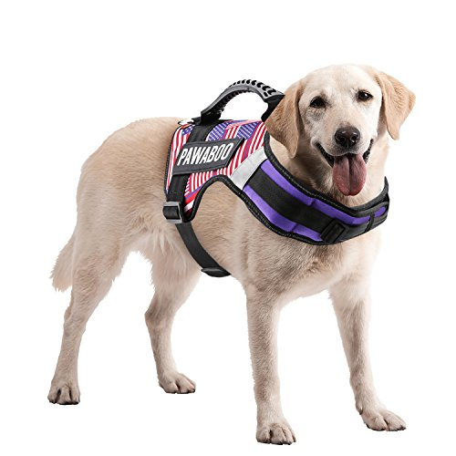Pawaboo Service Dog Vest Harness, Premium Durable Heavy Duty Soft Padded Reflective Dog Vest Harness with 2 Removable Hook and Loop Patches, Strong PVC Handle on Top, Large Size, US Flag