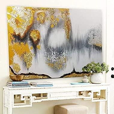 Orlco Art Modern Abstract Oil Painting Hand Painted Wall Art Gold,Gray,White etc 'buried treasure '