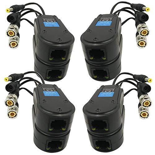 Tuneway 4 Pares Balun Potencia/Video Pasivo Actualizado 1080P-5Mp Bnc A Rj45 Transceptor...