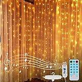 Cortina de Luces LED USB, 3 m x 3 m 300LEDs Luces de Cortina, 8 Modos de Luz con Control Remoto y voz, Cortina Luces LED para Decoración de Balcón, Jardín, Partido, Navidad