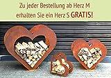 Herz aus Metall Holz Regal Rost Edelrost Holzregal Garten Terrasse - Deko - SET!! (L)