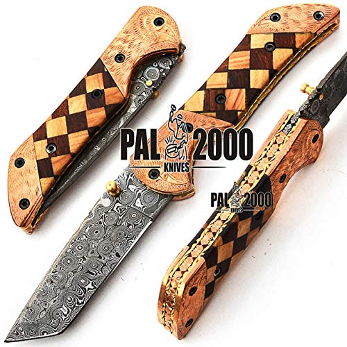 PAL 2000 Couteau Pliant de Poche, Couteau Fait Main sur Mesure, Couteau à Lame en Acier damassé avec Fourreau en Cuir, Couteau de Chef Artisanal, Couteau de Cuisine forgé à la Main 9594