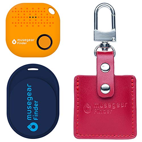 musegear® Essentials: Sleutelvinder met bluetooth-app uit Duitsland I Special Bundle: Finder Mini donkerblauw, Finder 2 oranje, Finder 2 in leren tas Bordeaux I maximale bescherming tegen gegevens