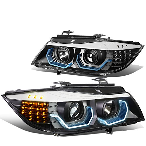 DNA Motoring HL-3D-E9005-BK-NEW LED Black Housing LED U-Halo Projector Headlights+LED Turn Signal For 06-08 E90