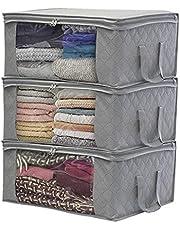 LSNDEE Kläder Förvaringslådor Vikbar, tygförvaringsbox, under sängen förvaringsväskor med blixtlås, vattentät tjock icke-vävd garderobsorganisatörer, används för täckkläder, 48 x 35 x 20 cm, 3-pack Grå