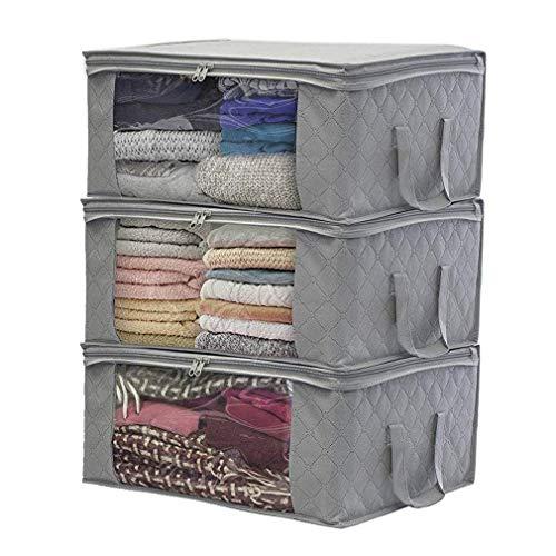 JSENGE 3pack Aufbewahrungstasche Kleidung faltbar, unterbett aufbewahrungsbeutel, tuevob Stoff-aufbewahrungsbox, kleideraufbewahrung mit reißverschluss, Verwendet für Decken, Bekleidung (Grau)