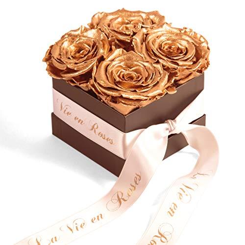 Rosenbox 4 infinity Rosen konserviert goldene Hochzeit Geschenk Hochzeitstag von ROSEMARIE SCHULZ Heidelberg (Gold)