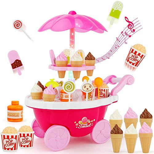 Sotodik Ice Cream Candy Cart 39 PCS Pretend Play Food Dessert and Cash Trolley Set Toys with Music and Lighting Kids and Girls Toyselody for Girls and Kids (Pink)