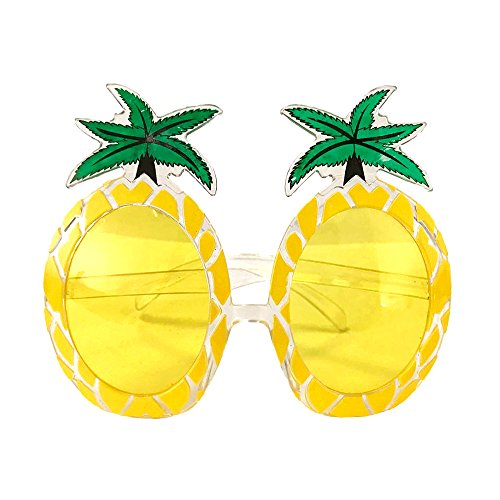 Crazy Night Fiesta Tropical Pineapple Sunglasses, Tropical Hawaiian Luau Party Summer Party Beach Party Novelty Sunglasses (Yellow)