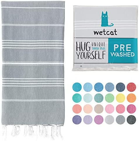 WETCAT Turkish Bath Towels 38 x 71 Prewashed for Soft Feel 100 Cotton Quick Dry Beach Towel product image