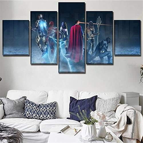 Gxucoa 5 Piezas De Arte Cuadros Decoracion Salon Modernos 5 Piezas Murales Pared XXL Imprimir HD Póster/Wonder Woman Superman/Arte De La Pared