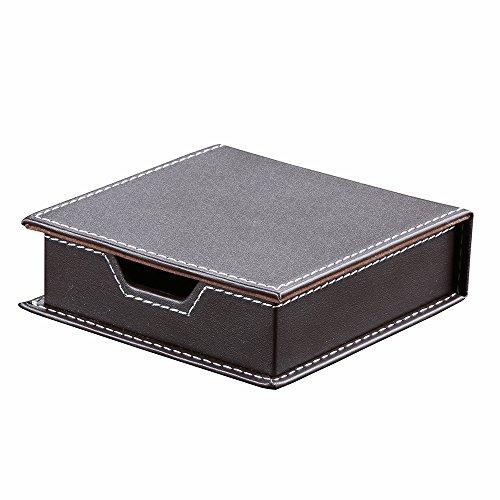 KINGFOM付箋ケース、小物収納ボックス、付箋紙ボックス、PUレザー(ブラウン)