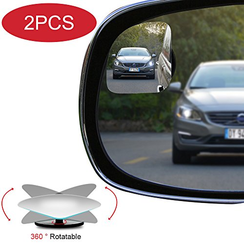 POMFW Blind Spot Mirror, Rearview Convex Adjustable Side Mirrors, Frameless Sway Rotate Wide Angle Rear View Mirror HD Glass Fan Shape Stick-on 3M Adhesive for SUV Car Truck Van Traffic Safety 2pcs