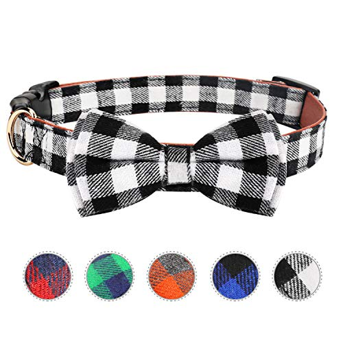 HAOPINSH Dog Bow Tie, Dog Cat Collar With Bow Tie Buckle Light Plaid Dog Collar for Dogs Cats Pets Soft Comfortable,Adjustable (M, Black)