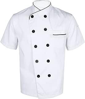 Unisex Men Women Short Sleeve Chef Jacket Coat Cooker Work Restaurant Uniforms