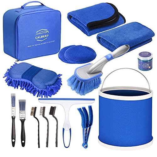 CALBEAU Juego de limpieza para coche, 14 piezas, con cubo plegable, esponja, cepillo para llantas, cepillos de limpieza, para limpieza interior y exterior, rejilla de ventilación, salpicadero, ruedas
