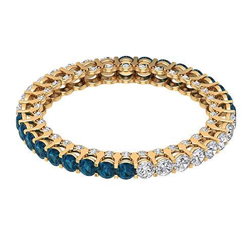 Anillo de compromiso con topacio azul de 1 ct certificado de 2 mm, único anillo de eternidad alterna, anillo de boda de diamantes de 3/4 ct, 10K Oro amarillo, Size:EU 63